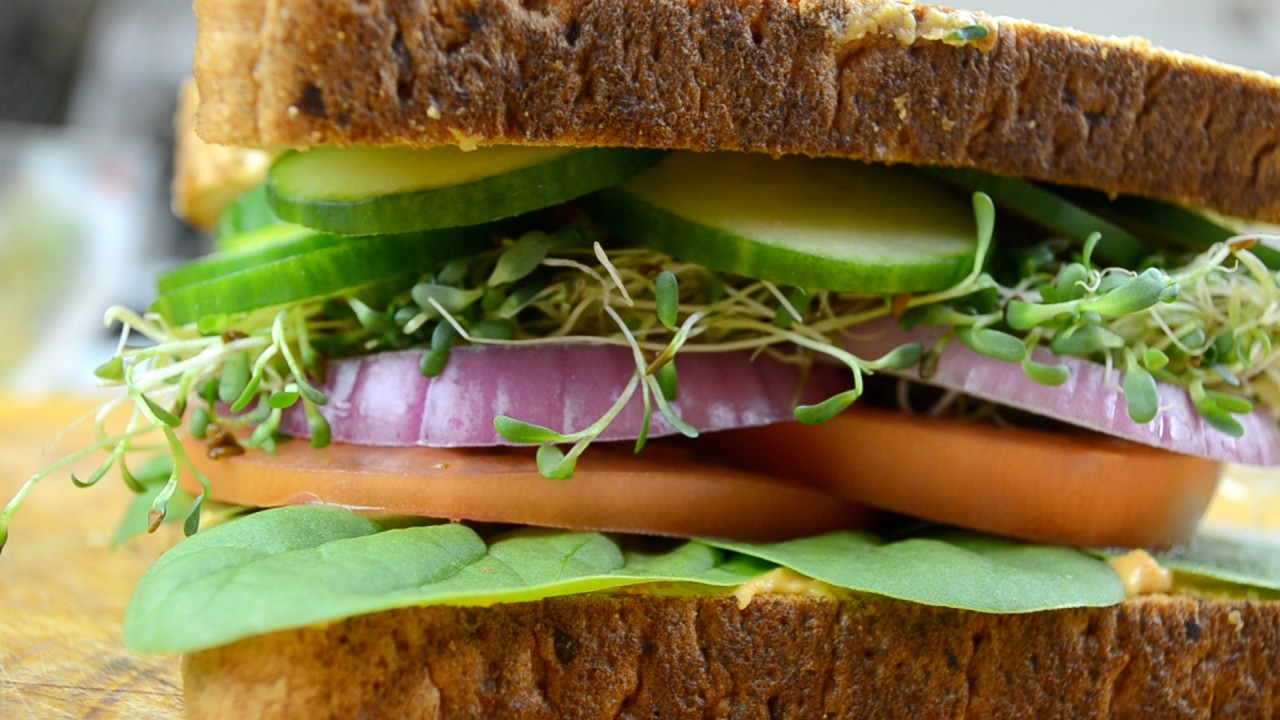 Vegan Hummus Club Sandwich by Fablunch