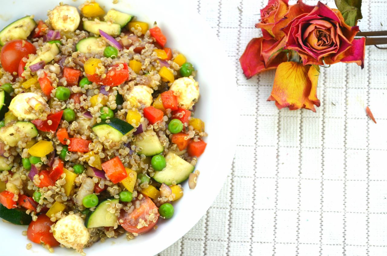 Quinoa Salad with Fresh Vegetables & Warm Apple Compote