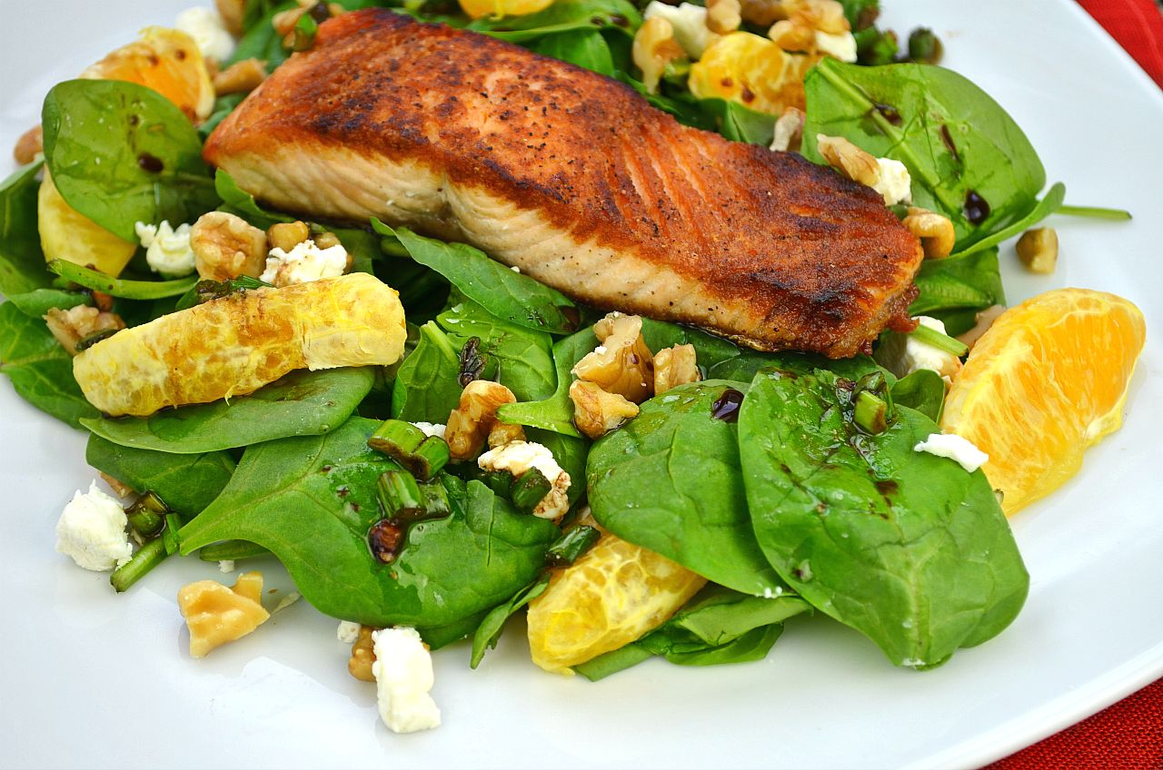 Spinach Salad with Oranges and Crispy Salmon